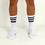 CREW SOCKS #AASSSOXX ORIGINAL WHITE WITH BLACK STRIPES