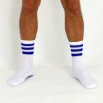 CREW SOCKS #AASSSOXX ORIGINAL WHITE WITH BLUE STRIPES