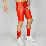 KINKY SHORTS WOOOF! COCKCAGE PVC LEATHER RED