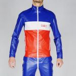 KINKY JACKET WOOOF! SLIM PVC LEATHER BLUE WHITE RED