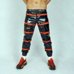 NYLON PANTS SNIFFBOYYY BLACK/ORANGE