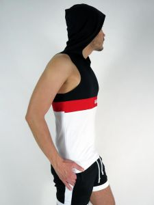 A-SHIRT WITH A HOOD #AASSSOXX ORIGINAL BLACK-WHITE