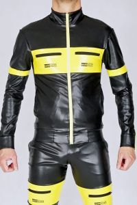 KINKY JACKET AASSEATER PVC BLACK/YELLOW