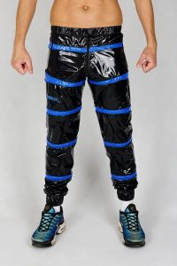 NYLON PANTS SNIFFBOYYY BLACK/BLUE