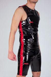 LATEX SLEEVELESS FUCKGATE BLACK RED